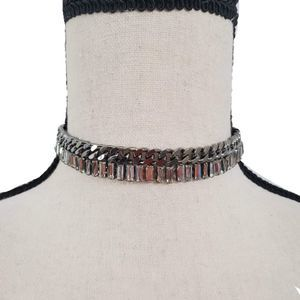 Silver Chain and Rectangle Crystals Necklace